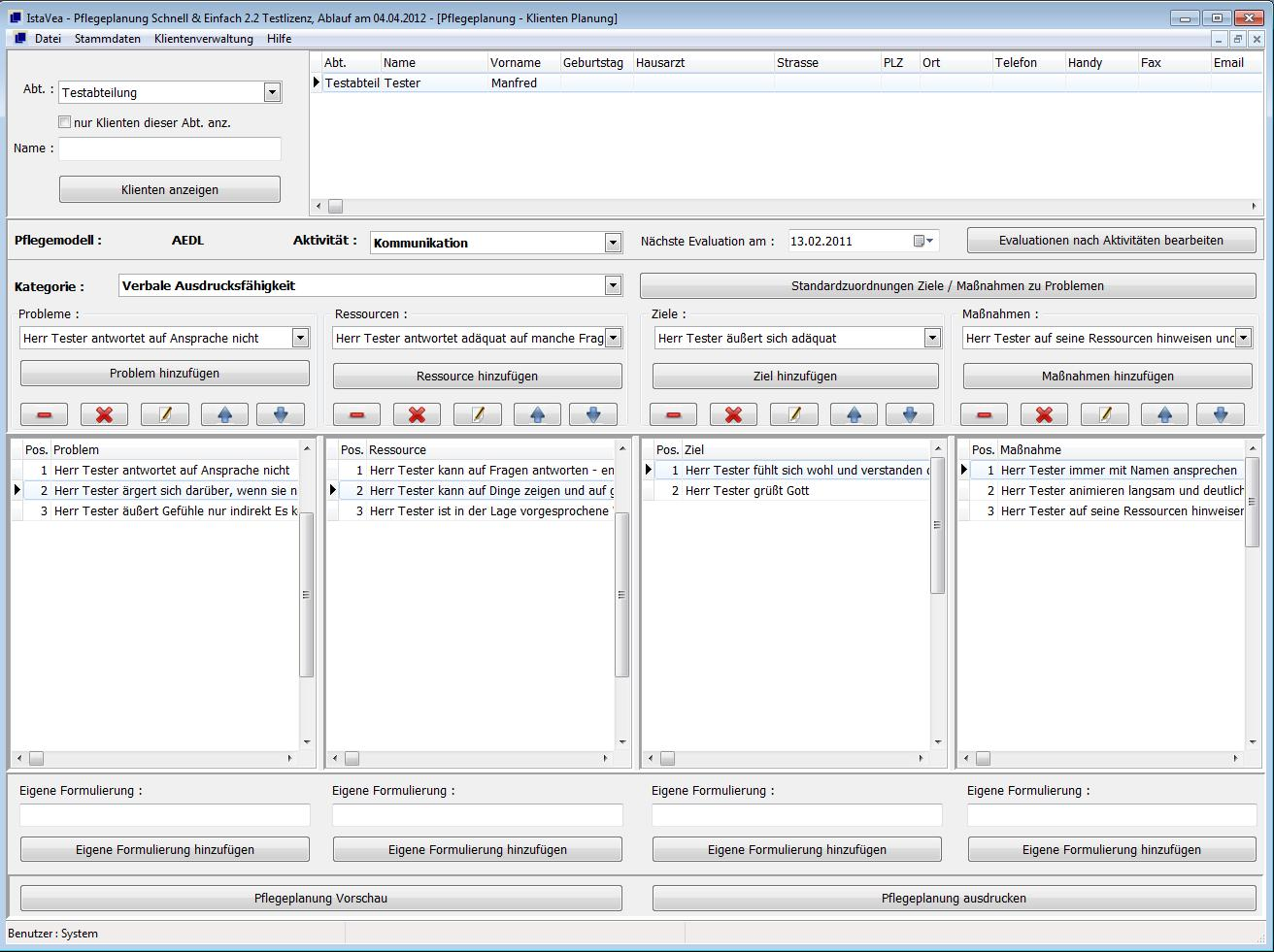 Pflegeplanung Software Version 2.2 2012